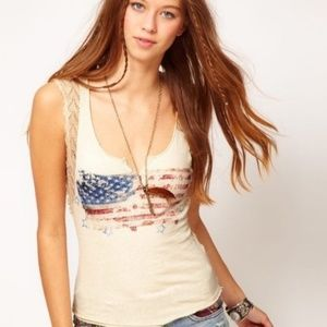 Free People We The Free American Flag Crochet Tank
